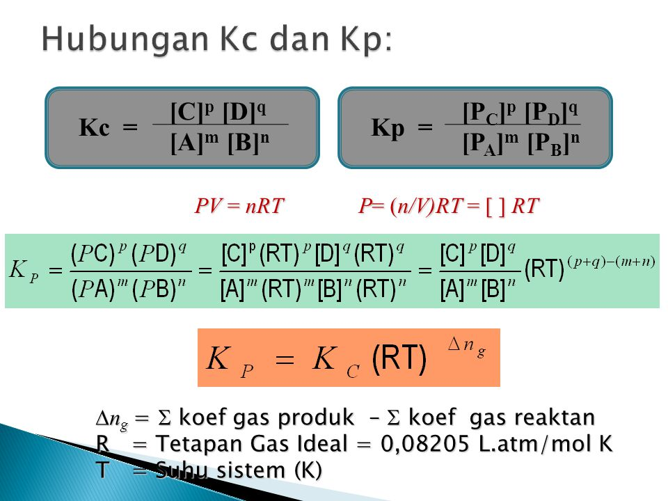 Hubungan Kc dan Kp: Kc = [C]p [D]q [A]m [B]n Kp = [PC]p [PD]q